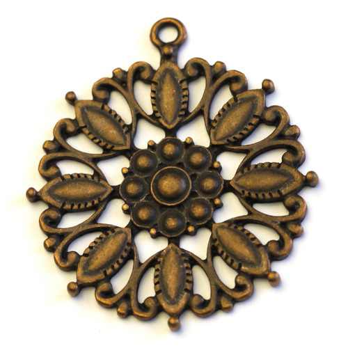 42mm Medallion Pendant, Antique Copper