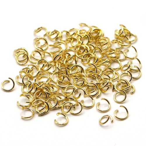10-Gram Bag of 20 Gauge 6mm Open Jump Rings, Gold Finish
