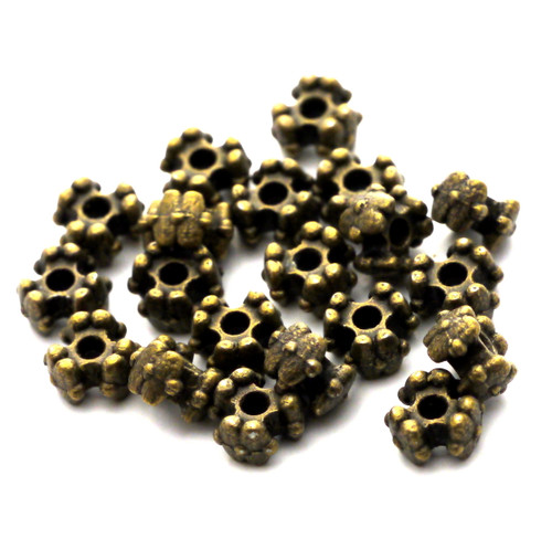 20pc 6x4mm Tri-Flower Spacer Beads, Antique Brass