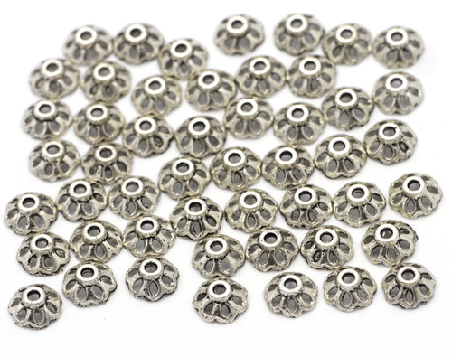 50pc 8mm Scalloped Bead Caps, Antique Silver