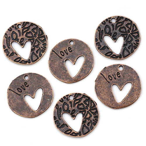 6pc 22mm Heart Cutout Double-Sided Charms, Antique Copper