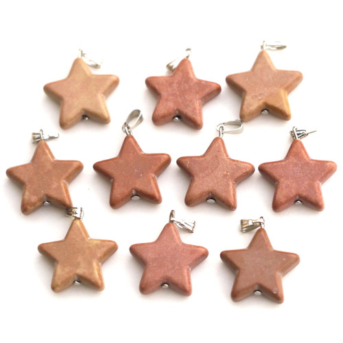 1pc Approx 28x20mm Imitation Brown Turquoise Star Charm