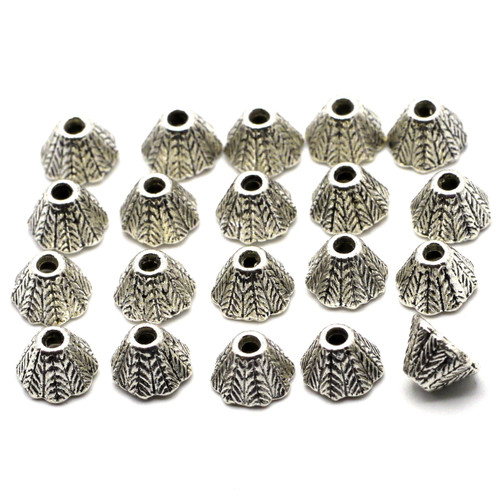 20pc 8x5mm Leaf-Textured Cone Bead Caps, Antique Silver