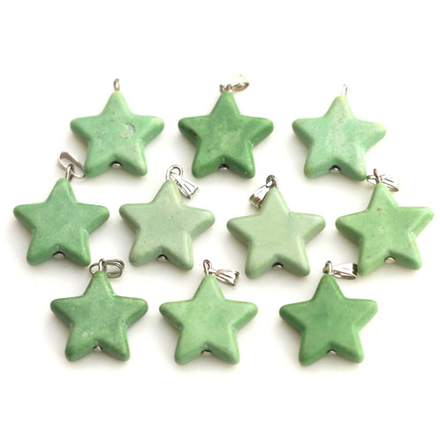 1pc Approx 28x20mm Imitation Green Turquoise Star Charm