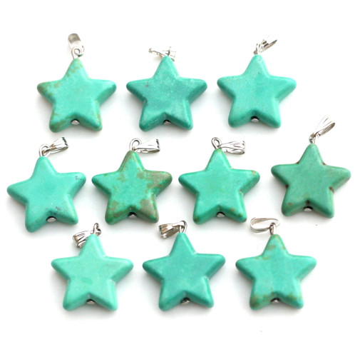 1pc Approx 28x20mm Imitation Turquoise Star Charm