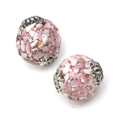 2pc Approx 18mm Lilac Shell Indonesia Beads