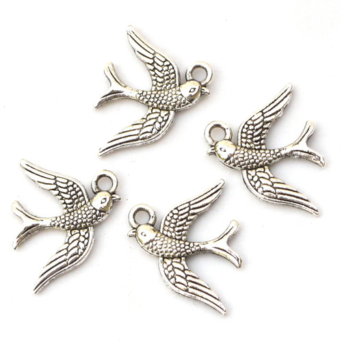 4pc 18mm Swallow Charms, Antique Silvertone