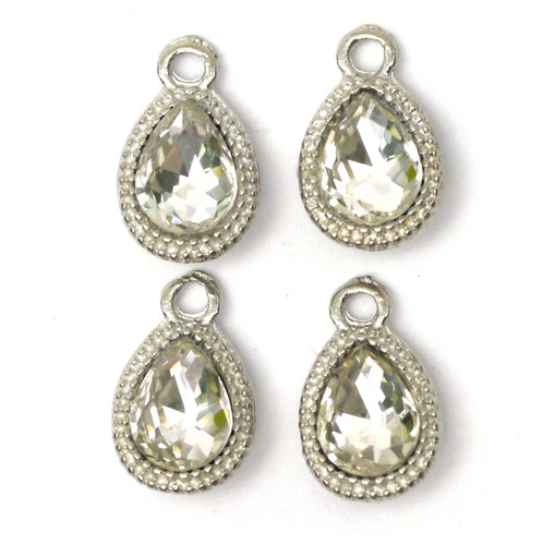 4pc 14mm Rhinestone Teardrop Charms, Antique Silver