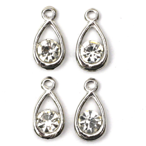 4pc 17mm Rhinestone Teardrop Charms, Antique Silver
