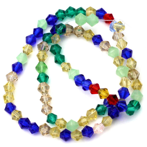 "13"" 4mm Cut Glass Crystal Bicone Beads, Mixed Colors"