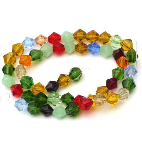 "13"" 6mm Cut Glass Crystal Bicone Beads, Mixed Colors"