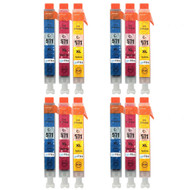 4 Compatible Sets of 3 C/M/Y Canon CLI-571 Printer Ink Cartridges (Colour Set)