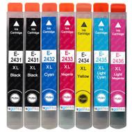 1 non-OEM T2438 + T2431 (24XL Series) Compatible Set + Extra Black of Epson Printer Ink Cartridges (T2431, T2432, T2433, T2434, T2435, T2436)