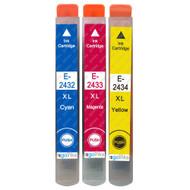 1 non-OEM T2438 (24XL Series) C/M/Y Compatible Set of 3 Epson Printer Ink Cartridges T2432 / T2433 / T2434 (Colour Set)