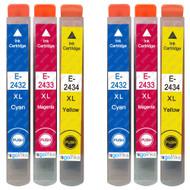2 non-OEM T2438 (24XL Series) C/M/Y Compatible Set of 3 Epson Printer Ink Cartridges T2432 / T2433 / T2434 (Colour Set)