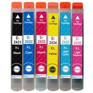 1 non-OEM T2438 (24XL Series) Compatible Set of 6 Epson Printer Ink Cartridges (T2431, T2432, T2433, T2434, T2435, T2436)
