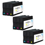 3 Compatible Sets of 3 C/M/Y HP 951 (HP951XL) Printer Ink Cartridges (Colour Set)