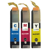 1 C/M/Y Colour Set of Compatible Brother LC123 Printer Ink Cartridges