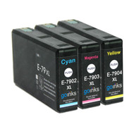 1 Go Inks Set of 3 Ink Cartridges to replace Epson T7906 (79XL Series) C/M/Y Compatible/non-OEM for Epson WorkForce Pro  Printers  (3 Inks)