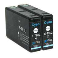 2 Go Inks Cyan Ink Cartridges to replace Epson T7902 (79XL Series) Compatible/ non-OEM for Epson WorkForce Pro  Printers