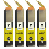 4 Yellow Compatible Brother LC123 Printer Ink Cartridges