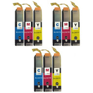 3 Go Inks Set of 3 C/M/Y Ink Cartridges to replace Brother LC3217 Compatible/non-OEM for Brother MFC Printers (9 Inks)