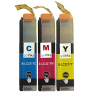 1 Go Inks Set of 3 C/M/Y Ink Cartridges to replace Brother LC3217 Compatible / non-OEM for Brother MFC Printers (3 Inks)