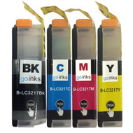 1 Go Inks Set of 4 Cartridges to replace Brother LC3217 Compatible / non-OEM for Brother MFC Printers (4 Inks)