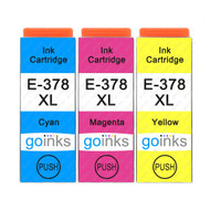1 Go Inks Set of 3 Ink Cartridges to replace Epson 378XL C/M/Y Compatible / non-OEM for Epson Expression Photo Printers (3 Inks)