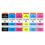 1 Go Inks Set of 6 Ink Cartridges to replace Epson 378XL (Bk/C/M/Y/LC/LM) Compatible / non-OEM for Epson Expression Photo Printers (6 Inks)