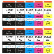 2 Go Inks Set of 4 + extra Photo Black Ink Cartridges to replace Epson 202XL Compatible/non-OEM for Epson Expression Photo Printers (10 Inks)