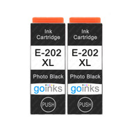 2 Go Inks Photo Black Ink Cartridges to replace Epson 202XLPBk Compatible/ non-OEM for Epson Expression Photo Printers