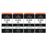 4 Go Inks Black Ink Cartridges to replace Epson 202XLBk Compatible/ non-OEM for Epson Expression Photo Printers