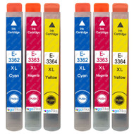 2 Go Inks Set of 3 Ink Cartridges to replace Epson T3557 (33XL Series) C/M/Y Compatible/non-OEM for Epson Expression Home Printers (6 Inks)