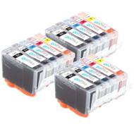3 Go Inks Set of 5 Ink Cartridges to replace Canon PGI-5 & CLI-8 Compatible / non-OEM for PIXMA & Pixus Printers (15 Pack)