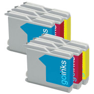 2 C/M/Y Colour Sets of Compatible Brother LC970 / LC1000 Printer Ink Cartridges
