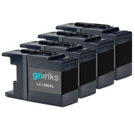 4 Black XXL Compatible Brother LC1280 Printer Ink Cartridges