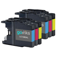 2 Go Inks Set of 3 C/M/Y Ink Cartridges to replace Brother LC1280XL Compatible / non-OEM for Brother MFC Printers (6 Inks)