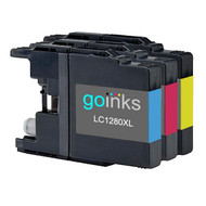 1 Go Inks Set of 3 C/M/Y Ink Cartridges to replace Brother LC1280XL Compatible / non-OEM for Brother MFC Printers (3 Inks)