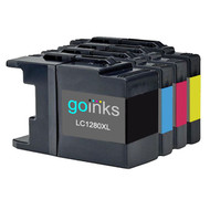 1 Go Inks Set of 4 Ink Cartridges to replace Brother LC1280XL Compatible / non-OEM for Brother MFC Printers (4 Inks)