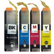 1 Go Inks Set of 4 Cartridges to replace Brother LC223 Compatible / non-OEM for Brother DCP & MFC Printers (4 Inks)