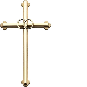 Gold Wedding Cross with Rings