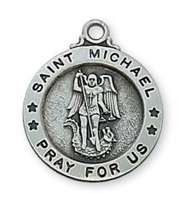 Small Antique Pewter Saint Michael Medal- Round