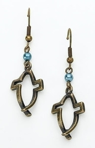 Dimensions of Christ Blue Pearl Cross/Fish Earrings
