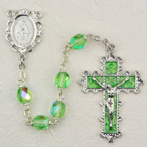 6mm Peridot Deluxe Rosary with Enamel Crucifix