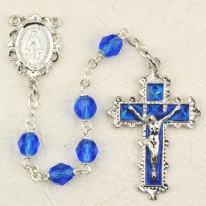 6mm Sapphire Deluxe Rosary with Enamel Crucifix