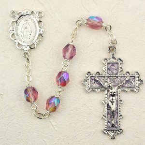 6mm Amethyst Deluxe Rosary with Enamel Crucifix