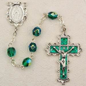 6mm Emerald Deluxe Rosary with Enamel Crucifix