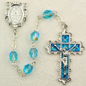 6mm Aqua Deluxe Rosary with Enamel Crucifix