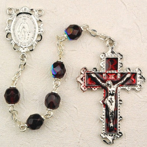 6mm Garnet Deluxe Rosary with Enamel Crucifix